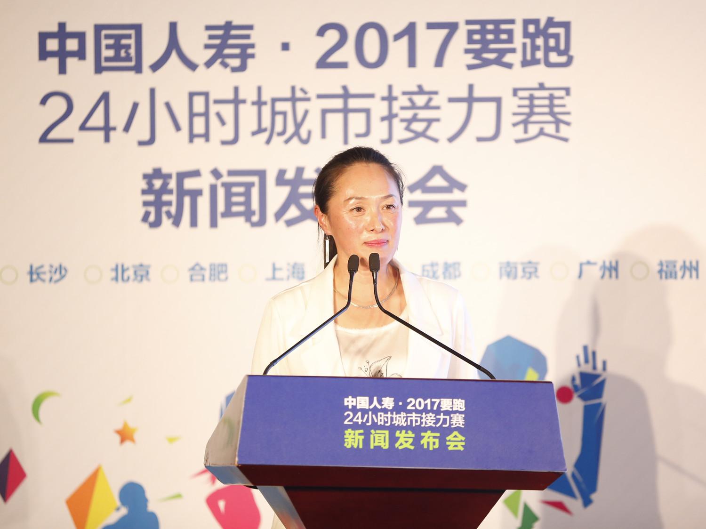 著名马拉松运动员、中国女子马拉松记录保持者孙英杰女士在新闻发布会上发言.jpg