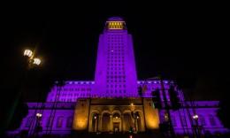 8点24分!洛杉矶市政厅当晚点亮紫金灯光缅怀科比 市长:为传奇亮灯