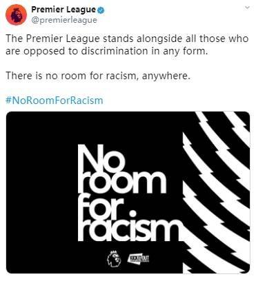 英超、英足总官方齐发声:在任何地方,向种族歧视说不