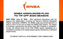 WNBA官宣将于7月下旬重启 常规赛缩减球员仍领全额薪水
