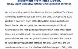 美网官方:纽约州州长同意空场建议 美网仍将于8月31日至9月13日进行