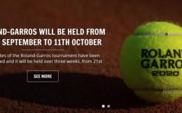 2020赛季法网定档9月21日开战  赛程共为期三周时间