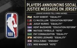 """""""自由""""和""""平等""""成主流 NBA公布部分球员球衣标语"""