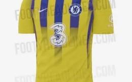 切尔西新赛季第三球衣曝光:黄色主基调搭配蓝紫色条纹