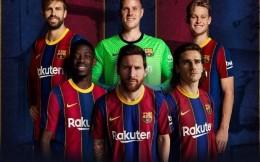 巴萨新赛季主场球衣宣传图发布 梅西居C位