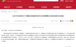 北京体育健身场所限流上调至75% 赛事举办规模增至1000人