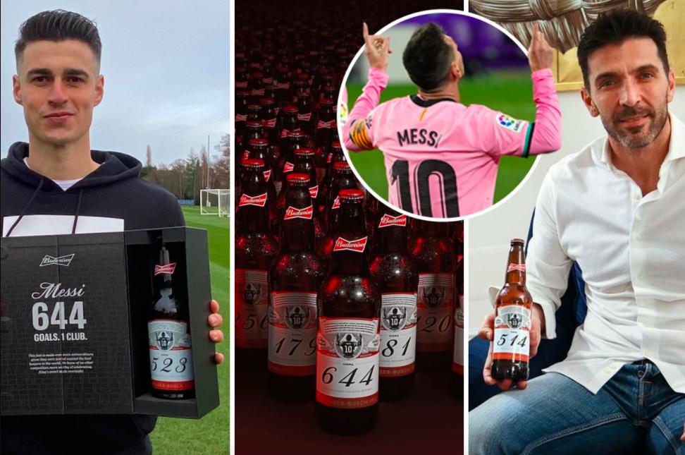 百威定制644瓶啤酒 送给被梅西破门的160位门将  卡西1人17瓶