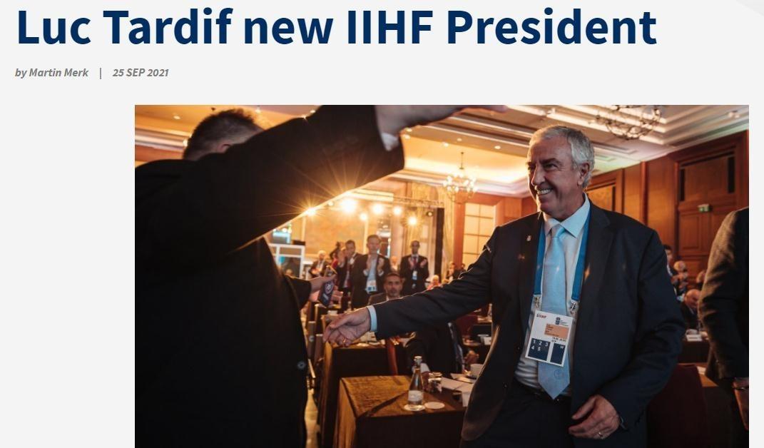 国际冰球联合会换届,塔尔迪夫当选主席